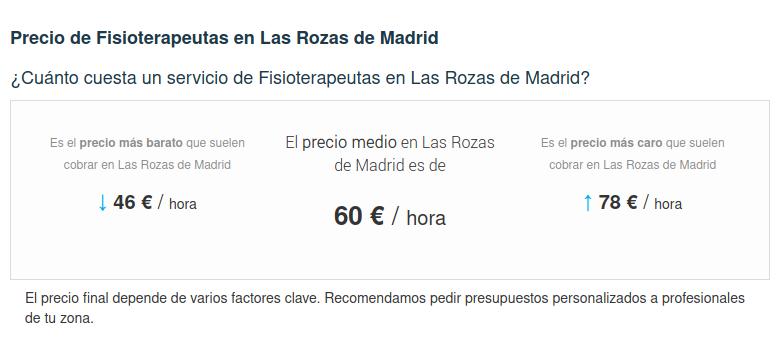 Precio de Los 10 Mejores Fisioterapeutas en las Rozas, Madrid Precios